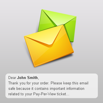 Pay Per View Order Confirmation Email Notifications & Texts
